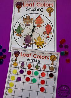 Fall Leaf Colors Activity for Preschool - Spin and Graph Fall Leaves. Preschool Centers, Fall Preschool, Preschool Themes, Preschool Lessons, Preschool Worksheets, Preschool Curriculum, Kindergarten, Color Activities, Autumn Activities