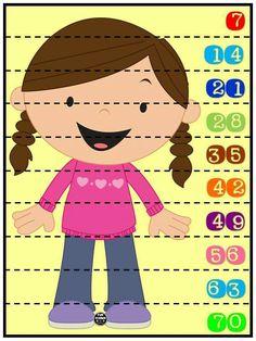 Rompecabezas numéricos para niños. Conteo de 7 en 7. Plastificar y recortar por la línea punteada.