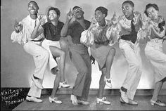 Whitey's Lindy Hoppers-inventors of the lindy hop (bias cut shimmery satin , informal attire --?)