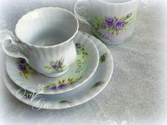 #OxiGra #komplet #sniadaniowy #recznie #malowany #prezent #porcelain #cup #handpainted #roze #rose