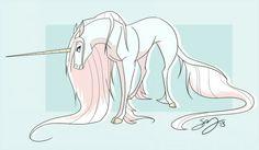Cute animated colorful unicorn by Famosity Creature Drawings, Horse Drawings, Animal Drawings, Art Drawings, Arte Aries, Unicorn Art, Unicorn Pics, The Last Unicorn, Unicorns And Mermaids