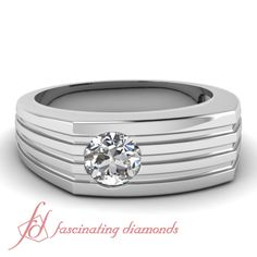Round Diamond 14K White Gold Men's Wedding Ring in Flush Setting || Contemporary Curved Ring