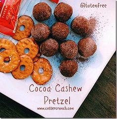 Cocoa Cashew Pretzel ---> Friday Flavor & A Healthy Bites Triple Whammy Giveaway Low Sugar Desserts, Low Sugar Recipes, Healthy Gluten Free Recipes, No Sugar Foods, Healthy Dessert Recipes, Healthy Options, Sweet Recipes, Healthy Protein Bars, Protein Bar Recipes