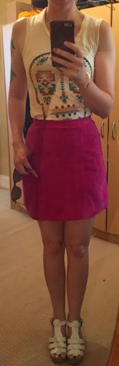 The Girl With Nothing to Wear: Skull top, pink skirt, casual style, summer style