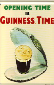 GUINNESS OYSTER OPENING TIME IS GUINNESS TIME COLLECTIBLE MINI TIN SIGN