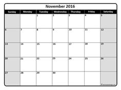 November 2016 monthly calendar template More