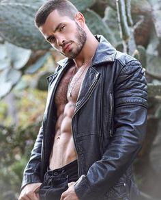 A random collection of hot guys Vintage Leather Jacket, Leather Men, Leather Jackets, Hairy Men, Bearded Men, Crocs Men, Taurus Man, Hommes Sexy, Sexy Shirts