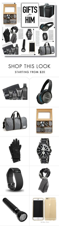 Gifts for Him by keri-cruz on Polyvore featuring Herschel Supply Co., Invicta, Denis Colomb, Fitbit, The North Face and Bose