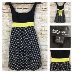 IZ Byer Girls Black Yellow Polka Dot Tie Back Sleeveless Dress Size 1 Retail $70 #ByerCalifornia