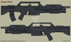 Based on the Morita rifle from Starship Troopers with 3 shot RPG launcher. Sci Fi Weapons, Weapon Concept Art, Fantasy Weapons, Weapons Guns, Sci Fi Fantasy, Armor Concept, Revolver, Arsenal, Firearms