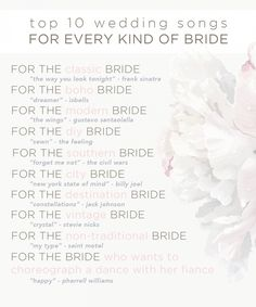 Top 10 Unexpected Wedding Songs For Every Kind Of Bride! Save this guide to plan… Top 10 Unexpected Wedding Songs For Every Kind Of Bride! Save this guide to plan for your wedding songs later. Top 10 Wedding Songs, Wedding Playlist, Wedding Music, Wedding Song List, Christina Perri, Budget Wedding, Wedding Tips, Budget Bride, Wedding Timeline