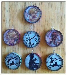 "upcycled caps with silhouettes and fairies!  By phyllisarts  ""What could be better for a nice summer accessory than an up-cycled Izzy cap? Especially with a garden fairy or silhouette of a nesting bird family or little boy playing the drums? I just love these little pendents! Fairies have been a favorite around here for years and one of my current loves is the simple silhouette! I really love these sweet nesting birds. So summery! I make them out if Izzy Soda bottle caps including the flower sy..."