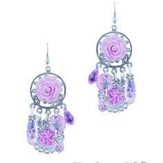 Boucles d'oreille bohème violet rose fleur breloques fait main par…