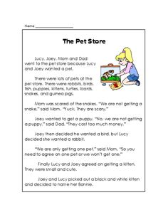 Short stories are a great way to get students interested in and used to reading. Use this free printable worksheet that features a story about a Pet Shop to help your young learner improve their reading and reading comprehension skills. Students should read the story, and then complete the questions on the attached worksheet.   Read more at http://kidspressmagazine.com/reading-comprehension-grade-1/worksheets/misc/the-pet-store-reading-comprehension.html#aPUROFDPdiyAus86.99  #free…