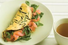 Take some inspiration from the Japanese for these nori and smoked salmon omelettes. Smoked Salmon Omelette Recipe, Smoked Salmon Breakfast, Salmon Recipes, Seafood Recipes, Coles Recipe, Great Recipes, Dinner Recipes, Recipe Collection, Weeknight Meals