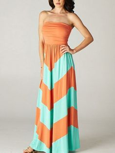 Straight Across Neck Color-block Striped Maxi Dress 16.67