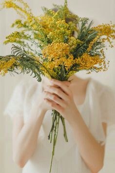 Hand Tied Wedding Bouquet Featuring: Yellow Solidago (Goldenrod) + Yellow Mimosa Flower