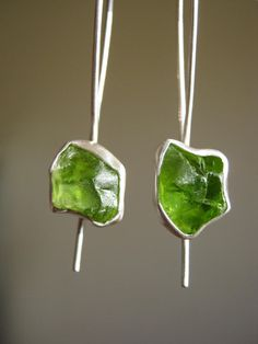 Items similar to Custom Dangle Rough Peridot Earrings - Sterling Silver and fine silver on Etsy Peridot Earrings, Turquoise Earrings, Sterling Silver Earrings, Gems Jewelry, Jewelry Art, Jewelry Design, Birthstone Gems, Organic Cleaning Products, Peridot Stone