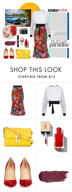 """""""Pack 'N' Go : Cuba!"""" by maggiecakes ❤ liked on Polyvore featuring TAXI, Dolce&Gabbana, Christian Louboutin and tarte"""