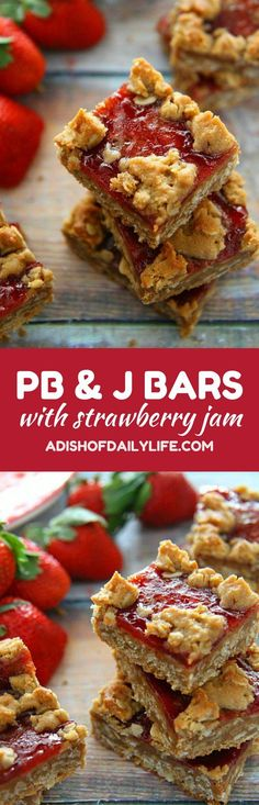 Your favorite sandwich just became a cookie! These PB&J Cookie Bars with Strawberry Jam are easy to make, and a delicious way to satisfy your sweet tooth craving. Perfect back to school snack recipe!