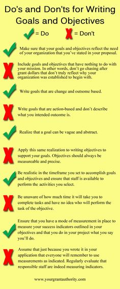 writing goals and objectives tips