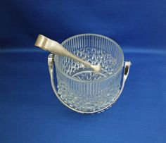 Vintage Teleflora Glass Chrome Handled Ice Bucket with Tongs Made in France… Chrome Handles, Stamp Making, Glass Collection, Barware, Feather, Vintage Items, Bucket, Ice, France