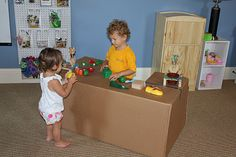 Make a store counter out of boxes