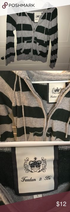Green and Gray Striped Hoodie Green and gray striped hoodie. Size L, but fits more like a medium. Full zip. Freedom 2 Be Tops Sweatshirts & Hoodies