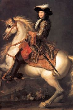 Stock Photo - Portrait of King Louis XIV of France on horseback, Rene-Antoine Houasse, oil on canvas, 1674 Ludwig Xiv, Chateau Versailles, Louis Xiv Versailles, French Royalty, French History, Horse Art, Horse Horse, Renoir, Art Reproductions