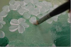 For the flowers I use the 5 petal little man strokes, you see a head, 2 arms and 2 legs. I used a #8 filbert brush for these flowers. start on outside of petal pushing down, lift up while coming to the middle