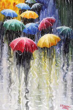 love this . . . .rain, umbrellas . .