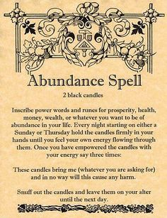 Witches Spell Book Pages | Book of Shadows Page - ABUNDANCE SPELL - Money Spell ... - Pinned by The Mystic's Emporium on Etsy