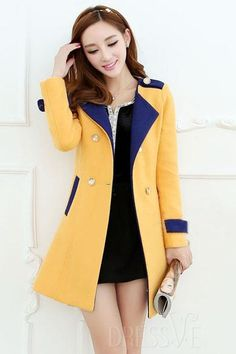 Shop High Quality Yellow/Pink Color Block Slim Trench Coat At Dressve.Com, And The Price Is Low Only At US$59.99 http://www.dressve.com/shop-11228973.html
