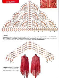 Tiered fans crochet shawl pattern with chart. Dreiecktuch häkeln - crochet ... 2