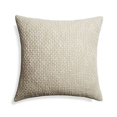 "Shop Brant 23"" Pillow.  Thick and thin yarns are woven by hand into the Brant pillow's large basketweave pattern.  Loaded with texture and fresh, natural appeal, the pillow reverses to solid cotton chambray."