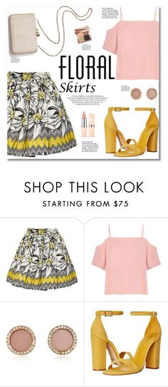 """Floral Skirt"" by alissfashionicon ❤ liked on Polyvore featuring Alice + Olivia, T By Alexander Wang, Kayu, Michael Kors, Schutz, Bobbi Brown Cosmetics and Floralskirts"