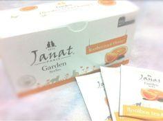 Janat Garden Series ルイボスオレンジティー。ルイボスのため、独特な風味がある。豆乳多めに入れて飲むのが1番だった。