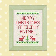 Merry Christmas Ya Filthy Animal. Cross Stitch Pattern PDF Instant Download