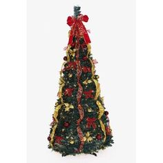 Pull Up Christmas Tree 6' Green Artificial Christmas Tree with 350 Clear Lights #Generic