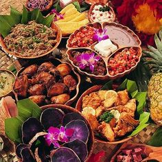 Foods from a traditional Hawaiian luau.                                                                                                                                                                                 More