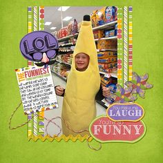 Sometimes all you can do is LOL!!   Noah in a banana costume! I used FUNNY BUSINESS from SNIPS AND SNAILS found here:  http://www.thedigichick.com/shop/Funny-Business-Mini-Kit.html and a template from SEATROUT SCRAPS ALL KINDS OF EVERYTHING found here:  http://www.thedigichick.com/shop/All-Kinds-of-Everything-Template-Set-2.html