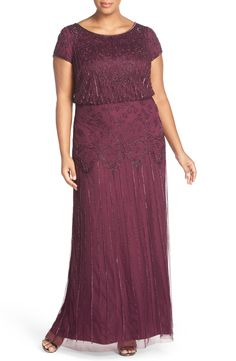 Adrianna Papell Beaded Blouson Gown (Plus Size) Online Cheap