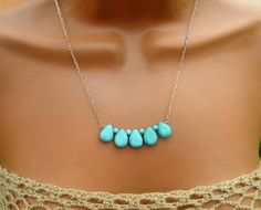 Delicate Turquoise Necklace on Gold. $24.00, via Etsy.