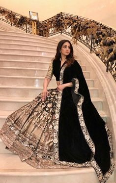 Sridevi Kapoor in a black brocade embroidered lehenga by Manish Malhotra #sridevikapoor #Brocade #Manishmalhotra