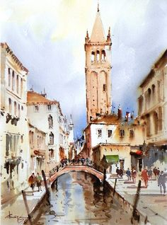 by Corneliu Dragan-Targoviste Watercolor Artwork, Watercolor Sketch, Watercolor Artists, Watercolor Illustration, Watercolor Architecture, Urban Architecture, Watercolor Landscape, Venice Painting, Urban Sketching