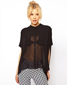 ASOS Blouse With Sheer Panels And Double Pockets