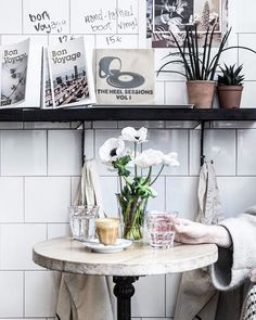 Cortado at the Boot Cafe in Paris with a Beautiful Flower Arrangement + Photoed by Local Milk + Beth Kirby. Click to see more!