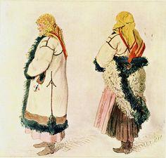 Josef Mánes (1820-1871) Slovácký kroj z Bílovic. Folk Costume, Costumes, Folk Clothing, Folk Art, Celtic, Princess Zelda, Traditional, Painters, Fictional Characters