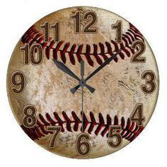 Cool Stone Look Vintage Baseball Clock for Him Wallclocks #BestBaseballCloseoutBats