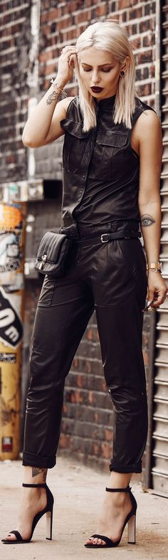 Masha Sedwick Black Leather Jumpsuit Fall Inspo